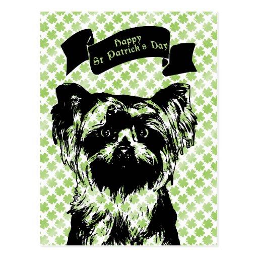 St Patricks - silueta de Yorkshire Terrier Tarjetas Postales