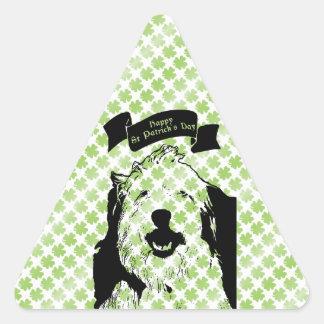 St Patricks - silueta inglesa vieja del perro Calcomania Triangulo