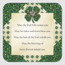 St. Patrick's Sparkly Shamrock/Heart Irish Square Sticker