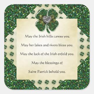 St. Patrick's Sparkly Shamrock/Heart Irish Square Sticker