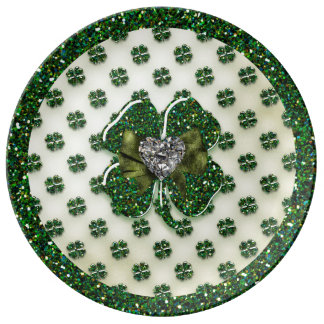 St. Patrick's Sparkly Shamrock with Heart Dinner Plate
