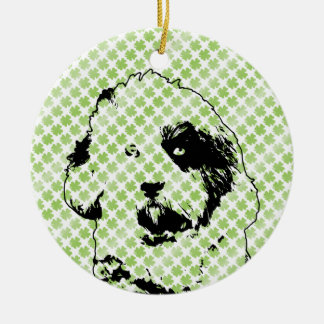 St Patricks - Tibetan Terrier Silhouette Double-Sided Ceramic Round Christmas Ornament