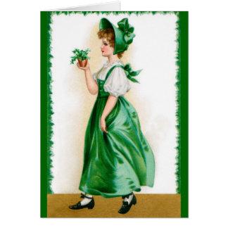 St. Patricks Vintage greeting card - Sweet girl