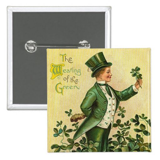 St. Patrick's Wearing of the Green Button