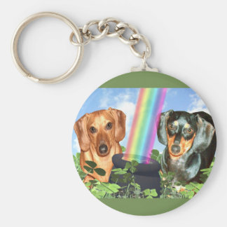 St Patricts Day Doxies Basic Round Button Keychain