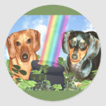 St Patricts Day Doxies Round Sticker