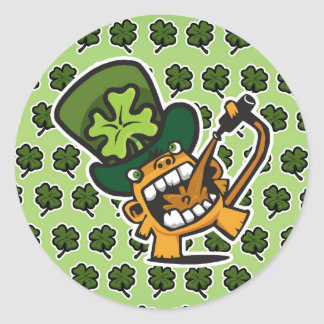 St Pat's Beer Monkey Classic Round Sticker
