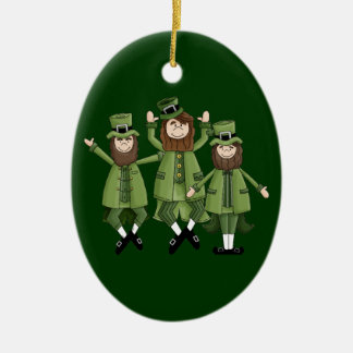 St Pats Dance Double-Sided Oval Ceramic Christmas Ornament