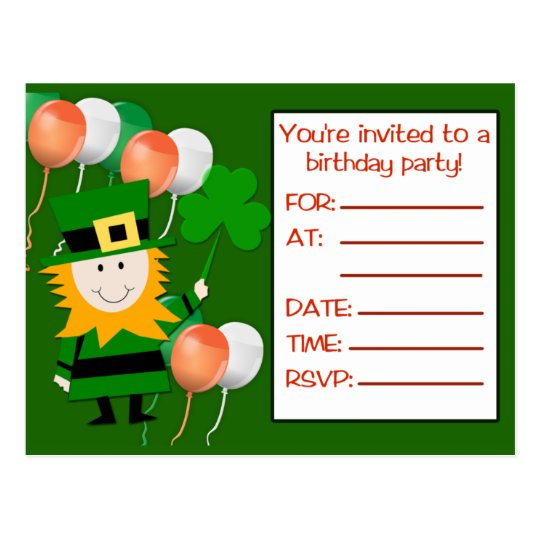 St Pat's Day Birthday Party Invitation Postcards