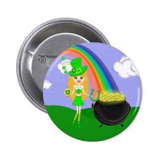 St Pat's Day Blonde Girl Leprechaun with Rainbow Button