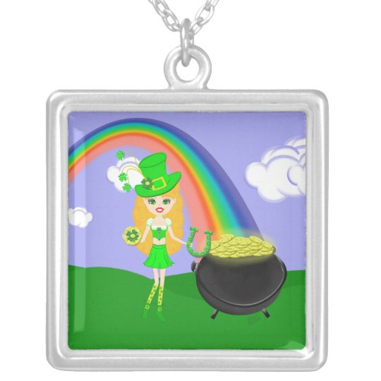 St Pat's Day Blonde Girl Leprechaun with Rainbow Silver Plated Necklace