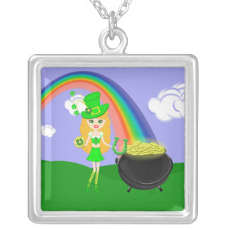 St Pat's Day Blonde Girl Leprechaun with Rainbow Square Pendant Necklace