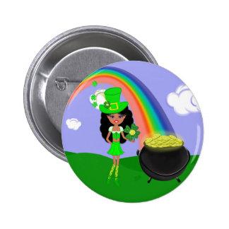 St Pat's Day Brunette Girl Leprechaun with Rainbow Button