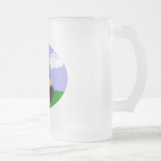 St Pat's Day Brunette Girl Leprechaun with Rainbow Frosted Glass Beer Mug