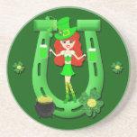 St Pat's Day Redhead Girl Leprechaun Coasters