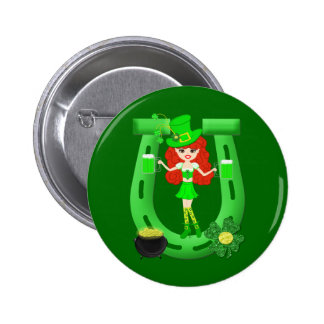 St Pat's Day Redhead Girl Leprechaun Pinback Button