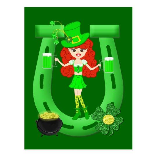 St Pat's Day Redhead Girl Leprechaun Postcard