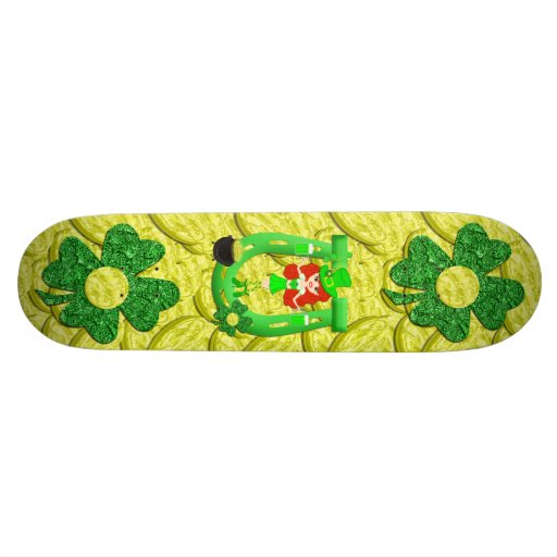 St Pat's Day Redhead Girl Leprechaun Skateboard Decks