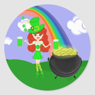 St Pat's Day Redhead Girl Leprechaun with Rainbow Classic Round Sticker