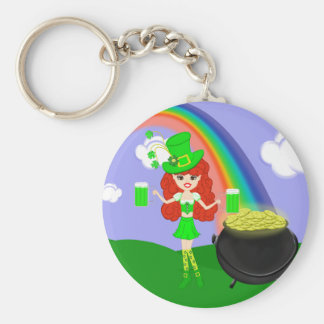 St Pat's Day Redhead Girl Leprechaun with Rainbow Keychain