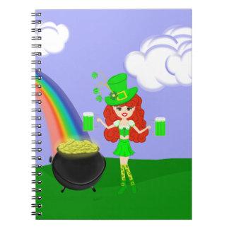 St Pat's Day Redhead Girl Leprechaun with Rainbow Notebook