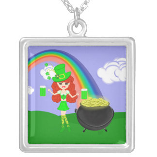 St Pat's Day Redhead Girl Leprechaun with Rainbow Square Pendant Necklace