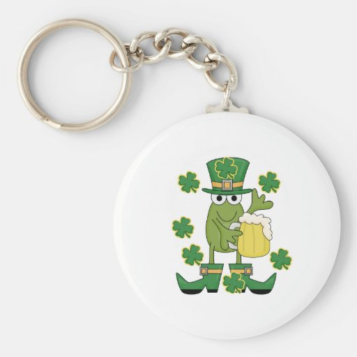 St. Pats Frog with Beer T-shirts and Gifts Keychain