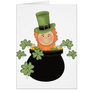 st. patties day man in pot greeting cards
