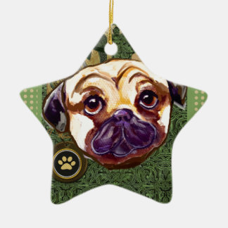 ST. PATTY PUG CERAMIC ORNAMENT