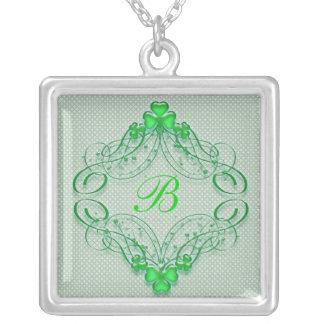 St. Patty Swirls Monogram Square Pendant Necklace