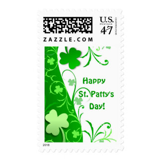 St Patty's Day Abstract Shamrocks Postage Stamp