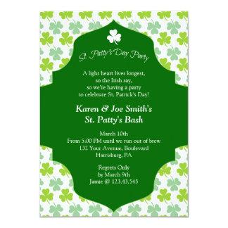 "St. Patty's Day Bash Festive Irish Cheers 4.5"" X 6.25"" Invitation Card"