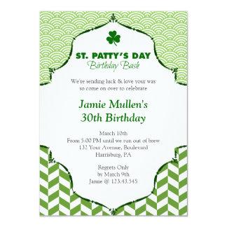 "St. Patty's Day Birthday Bash Festive Gingham 4.5"" X 6.25"" Invitation Card"