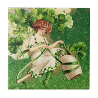 St. Patty's Day Girl Tile