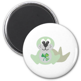 St. Pattys Day Goofkins baby seal 2 Inch Round Magnet