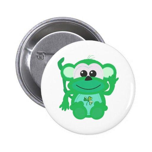 St. Pattys Day Goofkins monkey Pinback Buttons