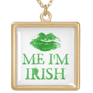 St. Patty's Day Green Kiss Me I'm Irish Gold Plated Necklace