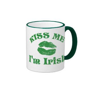 St. Patty's Day Kiss Me I'm Irish Ringer Coffee Mug