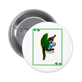 ST. PATTY'S DAY PARROT PINBACK BUTTONS