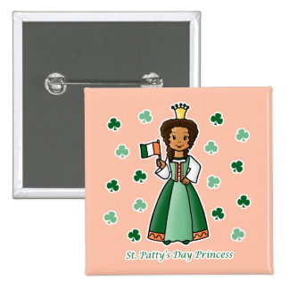 St. Patty's Day Princess 2 Inch Square Button