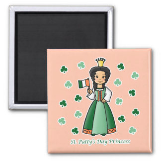 St. Patty's Day Princess 2 Inch Square Magnet
