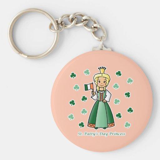 St. Patty's Day Princess Basic Round Button Keychain