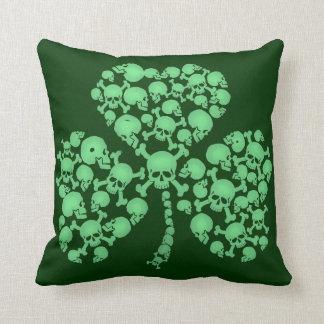 St. Patty's Day Shamrock Skulls Throw Pillow