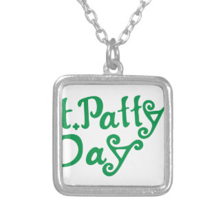 St. Pattys Day Square Pendant Necklace
