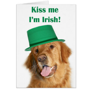 St Patty's golden retriever Greeting Cards