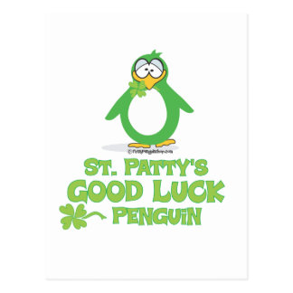 St Patty's Good Luck Penguin Post Card