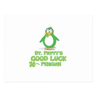 St Patty's Good Luck Penguin Postcard