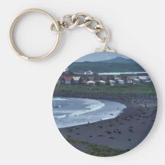 St Paul and Zolotoi Beach Pribilofs Keychain