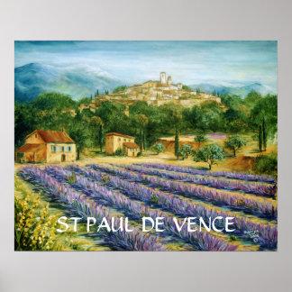 St Paul De Vence And Lavender Poster