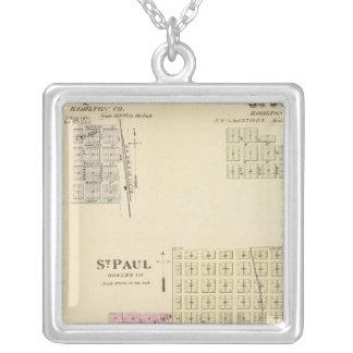 St. Paul, Marquette, and St. Joe, Nebraska Square Pendant Necklace